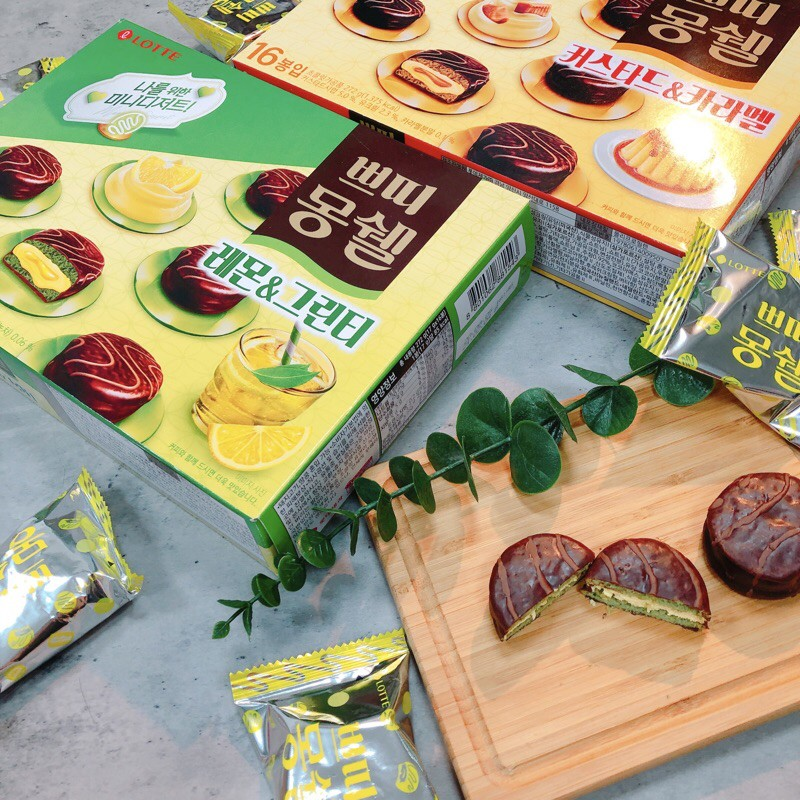 ☕️9月新品正韓 韓國Lotte 樂天 迷你夢雪巧克力派  檸檬綠茶 焦糖布丁口味 夢雪巧克力派 韓國巧克力
