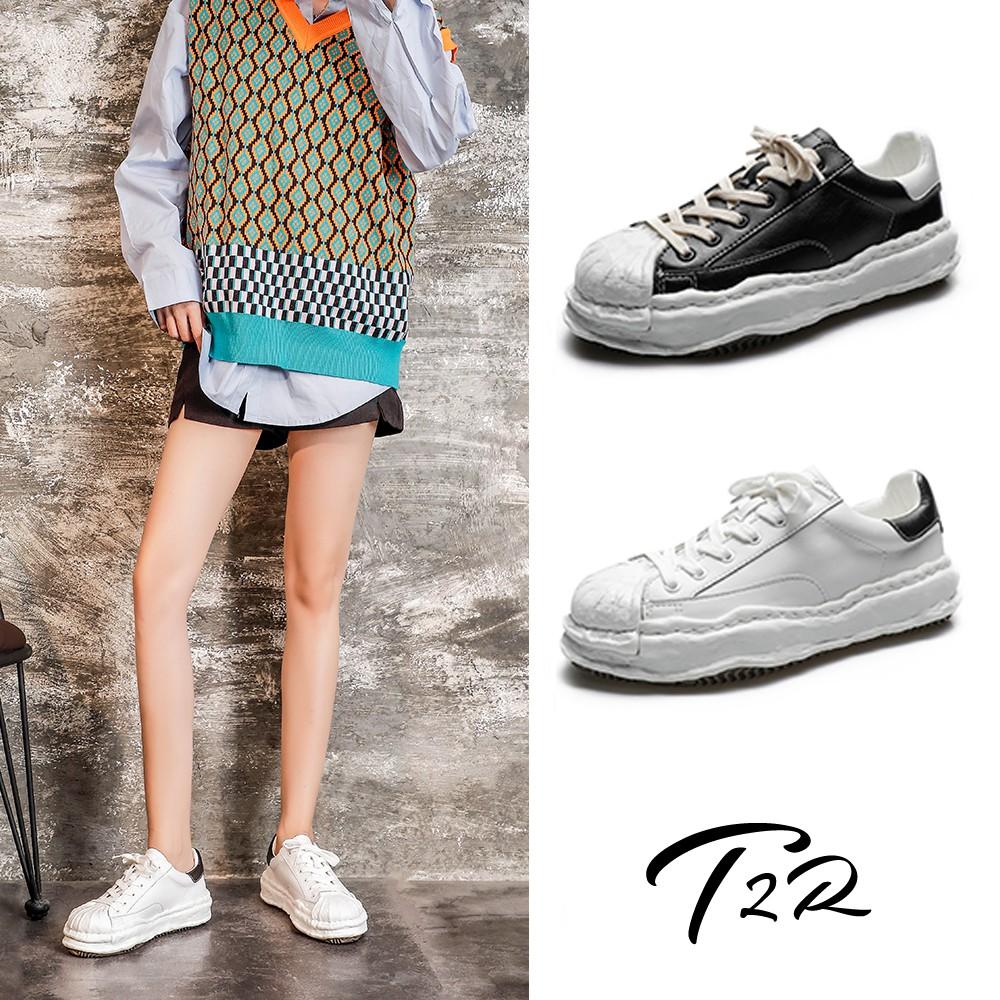 【T2R】正韓空運-真皮厚底增高溶解帆布鞋-增高4CM-白/黑白(5985-2112/5985-2111)