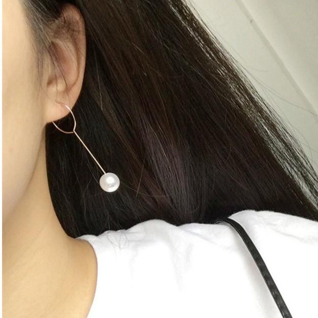 名媛珍珠圓圈長款淑女流蘇簡約耳環耳墜耳飾