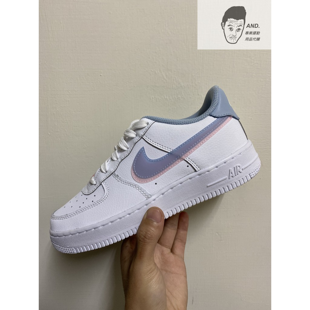【AND.】NIKE AIR FORCE 1 GS 藍粉 果凍 雙勾 藍 粉 水藍 透明 CW1574-100