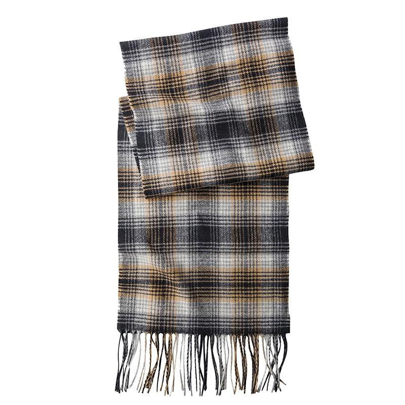 PENDLETON羊毛圍巾-棕灰格紋款