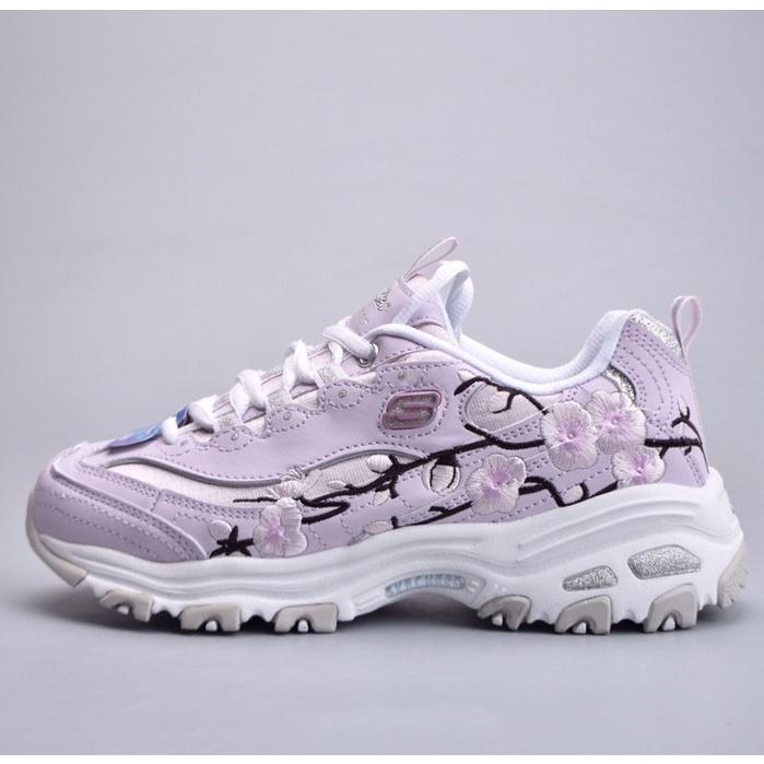 Skechers 花卉刺繡 紫色 休閒 女鞋 斯凱奇 厚底 老爹鞋 時尚 運動鞋 慢跑鞋 輕便 新款