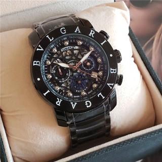 現貨 BVLGARI 寶格麗 全功能石英表 手錶 真三眼 鋼帶 男表 潮表 個性錶盤 鏤空齒輪設計 商務男士腕錶 手錶㊣