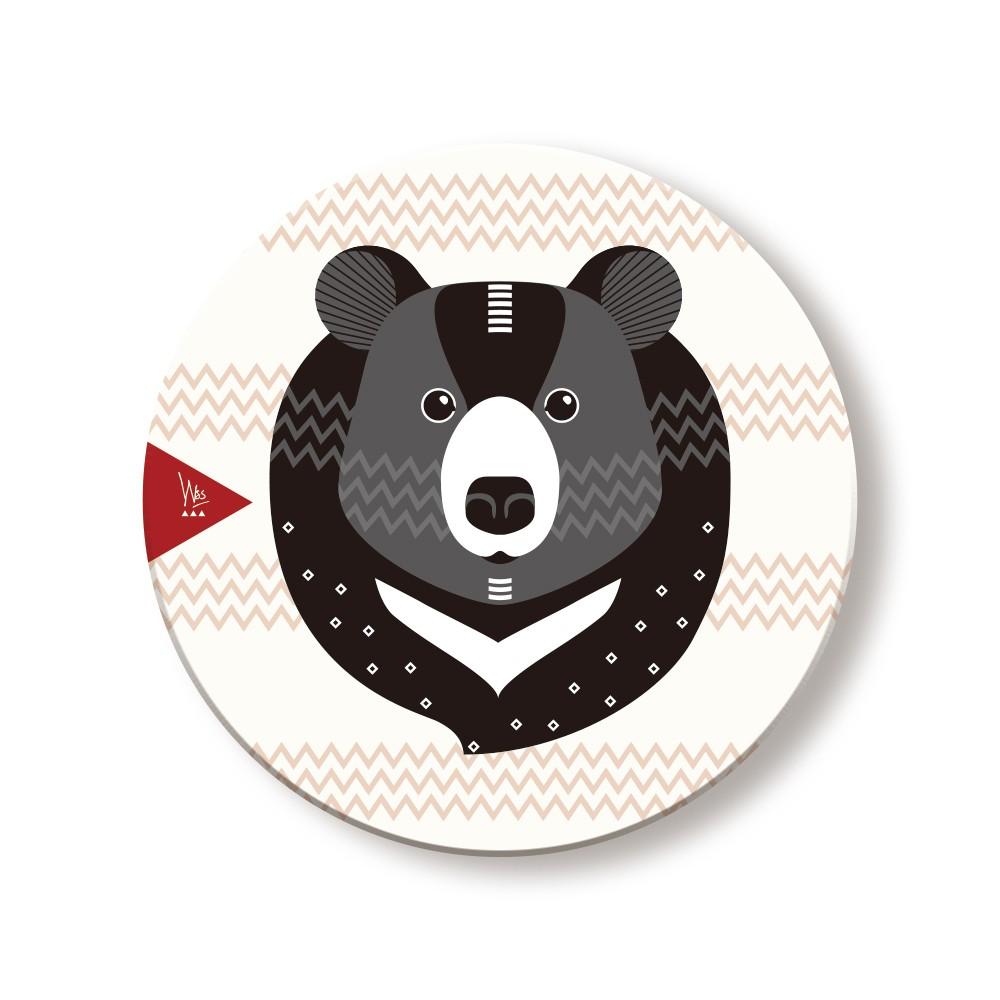 WasangShow 花生騷【森林動物系列】Q版黑熊陶瓷杯墊