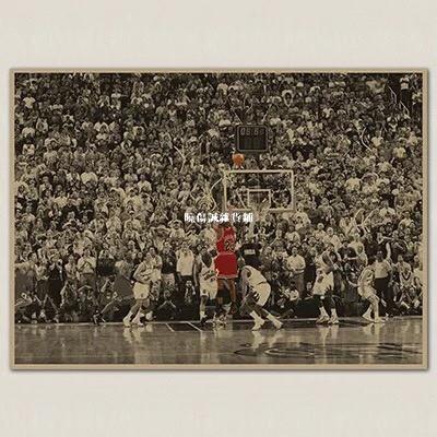 曉傷誠雜貨鋪JORDAN NBA 喬登 最後一擊 公牛 橫版 籃球 懷舊復古 牛皮紙 海報 壁貼