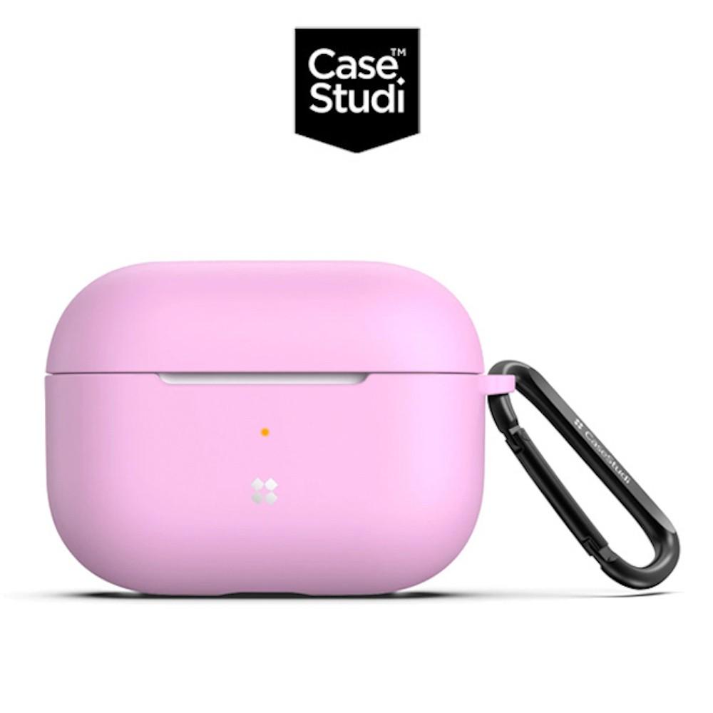 CaseStudi AirPods Pro 充電盒 UltraSlim 矽膠保護套(含扣環)-粉紅色