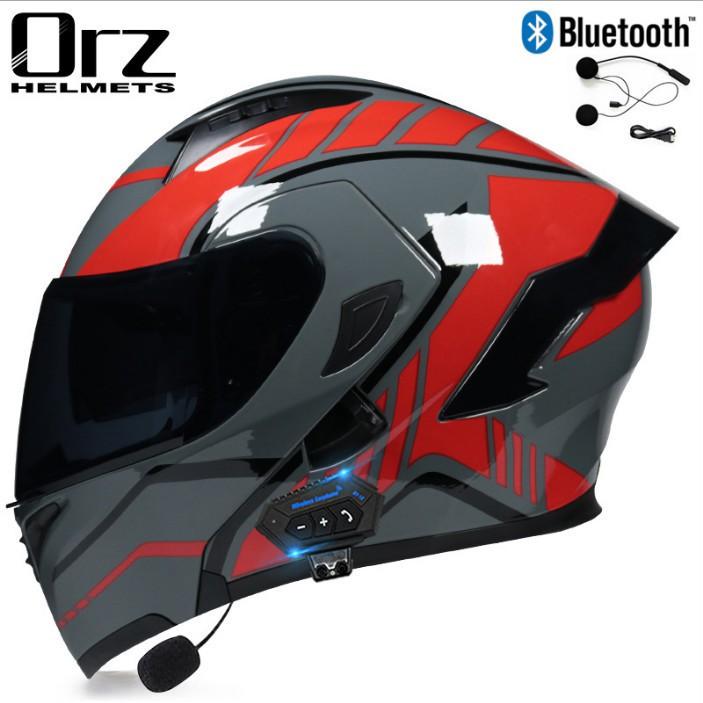 【新品爆款】Orz頭盔男女電動摩托車揭面盔藍牙全盔半盔安全帽個性冬季機車盔