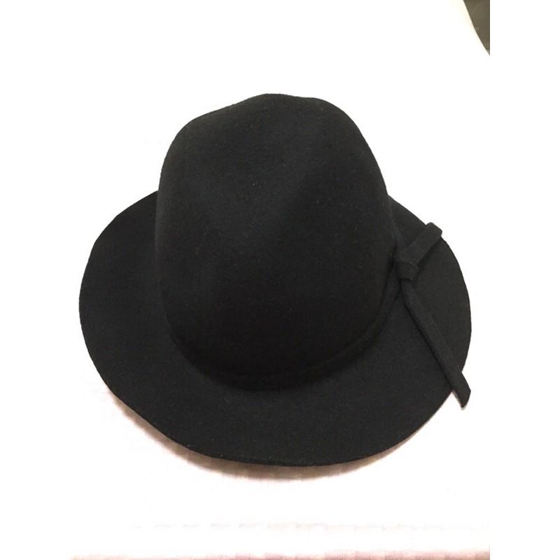 二手 羊毛毛呢寬延黑帽 羊毛100%