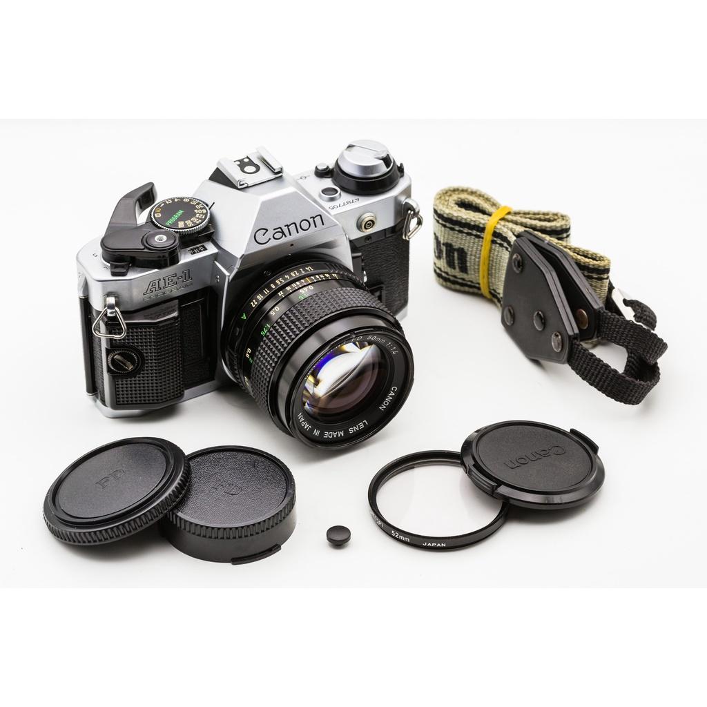 二手新中古:經典CANON AE-1P銀+NFD 50mm F1.4大光圈 輕巧文青相機135底片機9成新 A1