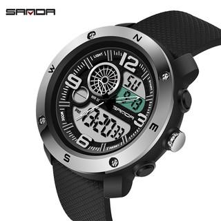 SANDA NEW驅逐寶格麗頂級品牌豪華軍事手錶男士防水S振動鐘
