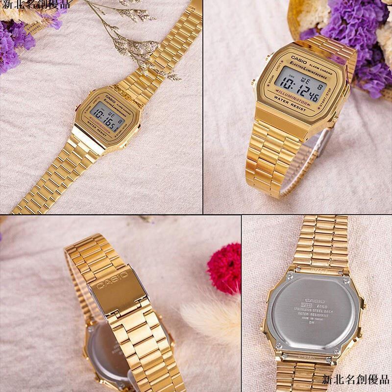 🚩卡西歐男錶Casio手錶 電子錶 反顯電子錶 腕錶女 鬧鈴LED男女同款 數位金色黑色 復古錶 經典潮流 A-168