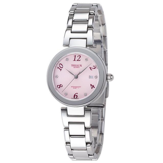 台灣品牌手錶腕錶【TELUX鐵力士】煥彩女神腕錶 30MM台灣製造石英錶7771W-PINK鋼帶粉紅面