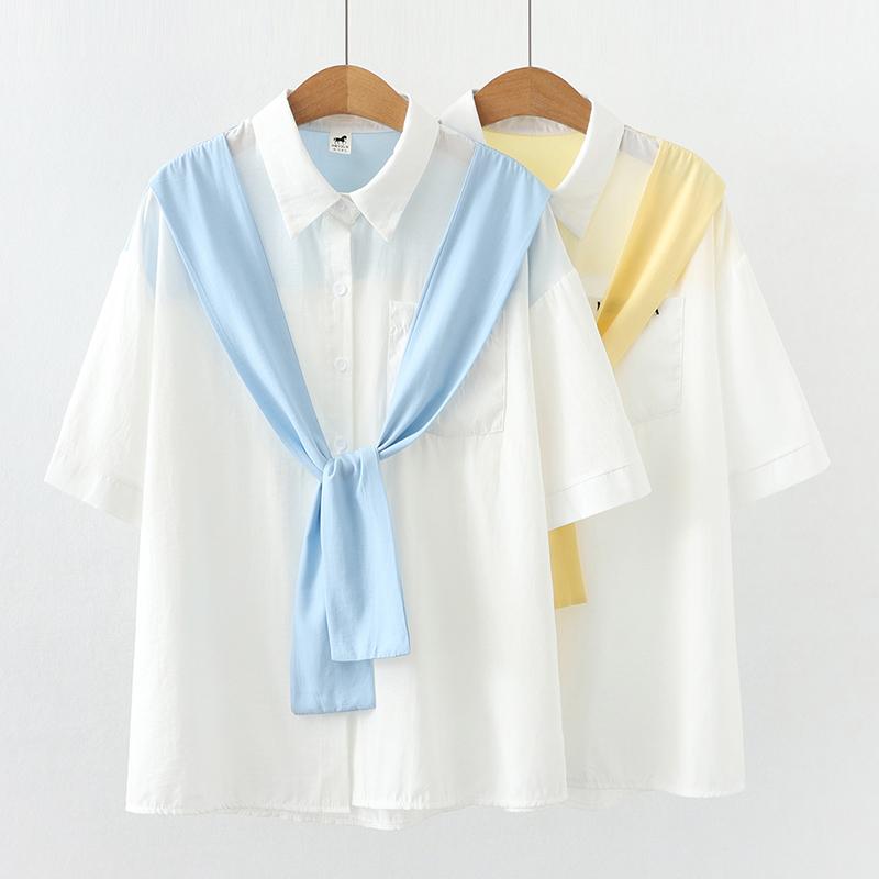 拼接假兩件短袖襯衫女休閒百搭韓版時尚減齡ins潮學生閨蜜裝翻領開衫襯衣上衣