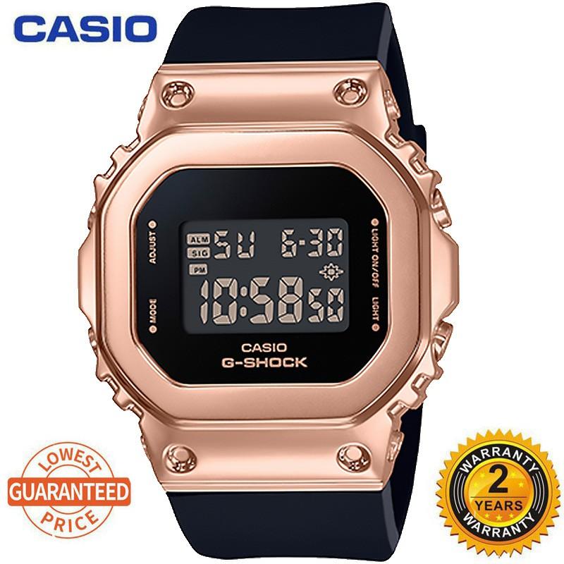 卡西歐女士手錶 G-Shock 玫瑰金女士手錶小方形手錶 Gm-S5600Pg-1 / 4 / 7pr 手錶果醬