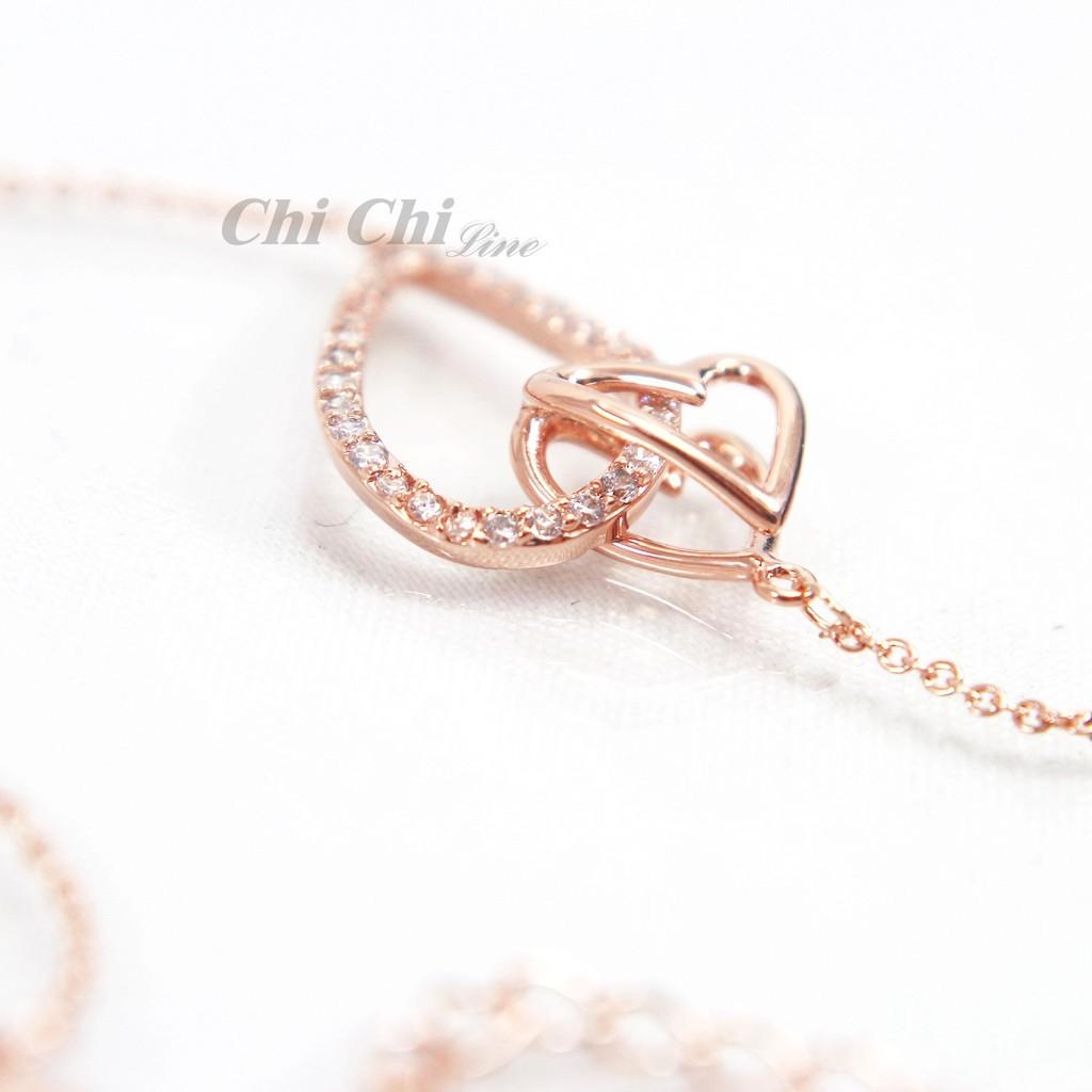 【現貨】Chi Chi-玫瑰金時尚心型鑲鑽手鍊-EH010