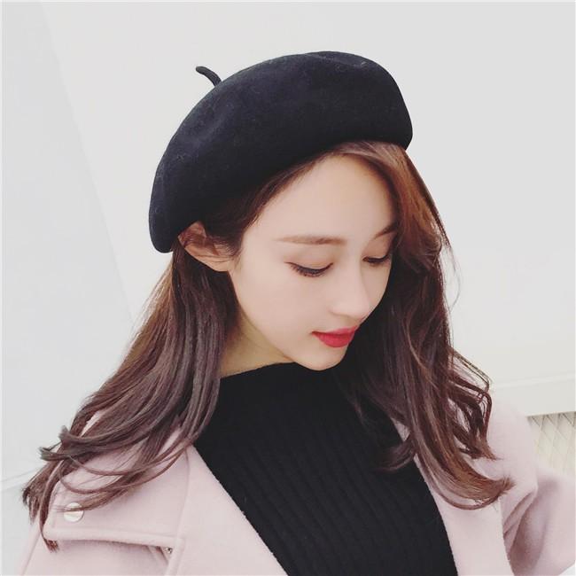 學院風甜美純色保暖堆堆帽百搭羊毛呢蓓蕾帽时尚潮流