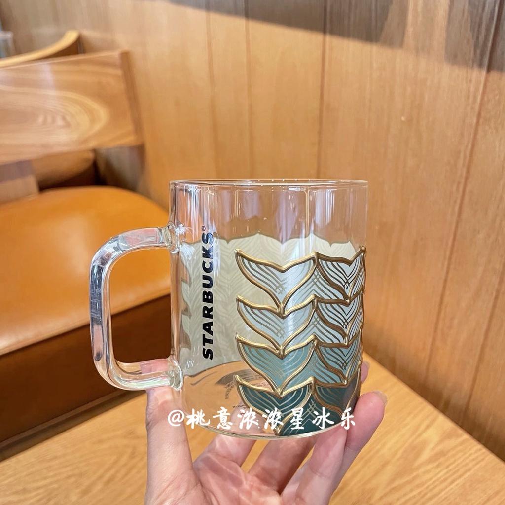 韓國2021星巴克杯子50週年金邊魚鱗魚尾玻璃杯小清新送禮情侶杯