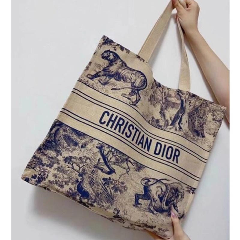 2020年 DIOR VIP GIFT 贈品 沙灘袋 帆布包 緞帶+紙袋完整包裝