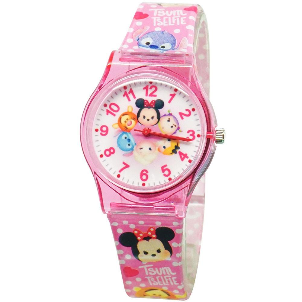 【Disney迪士尼】迪士尼家族 TSUMTSUM旋轉派對兒童錶 粉色