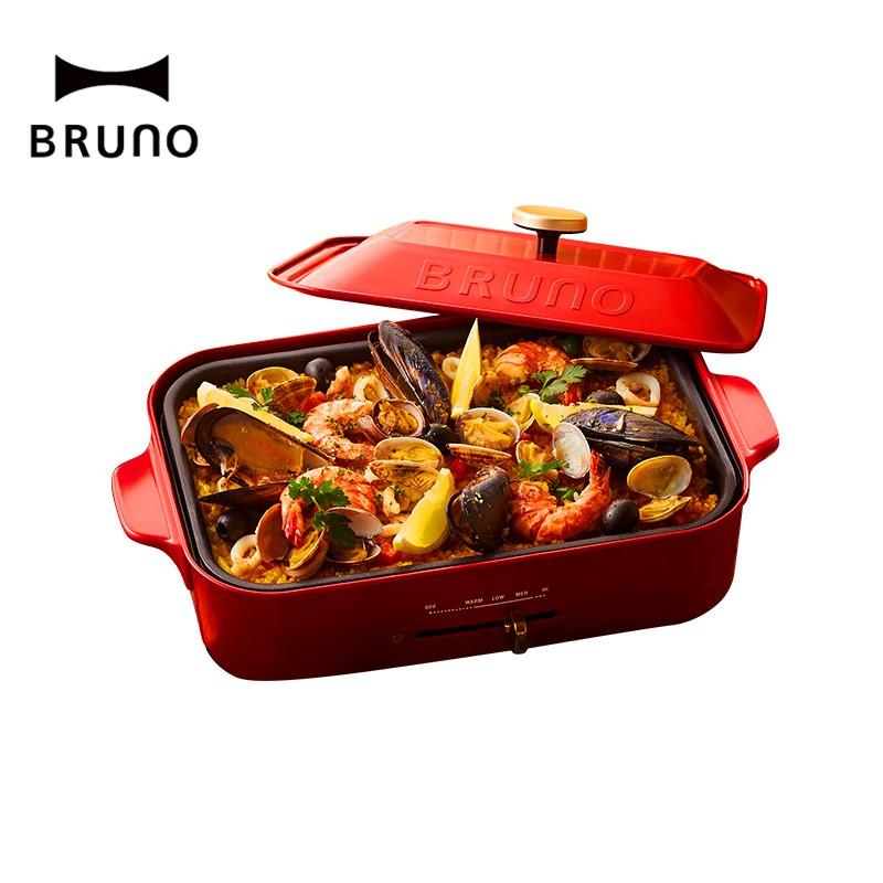 【日本BRUNO】多功能電烤盤-紅色(內含平盤、六格烤盤)