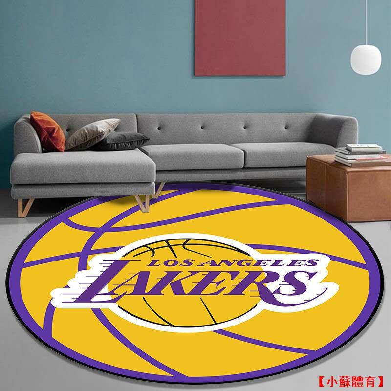 【NBA 籃球球星 爆款地毯墊】NBA創意圓形地毯湖人勇士火箭臥室卡通電腦椅吊籃轉椅子地墊科比forever