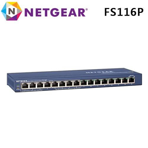 台灣公司貨五年保 Netgear 16埠 - 8埠PSE 10/100Mbps PoE供電 乙太網路交換器 FS116P