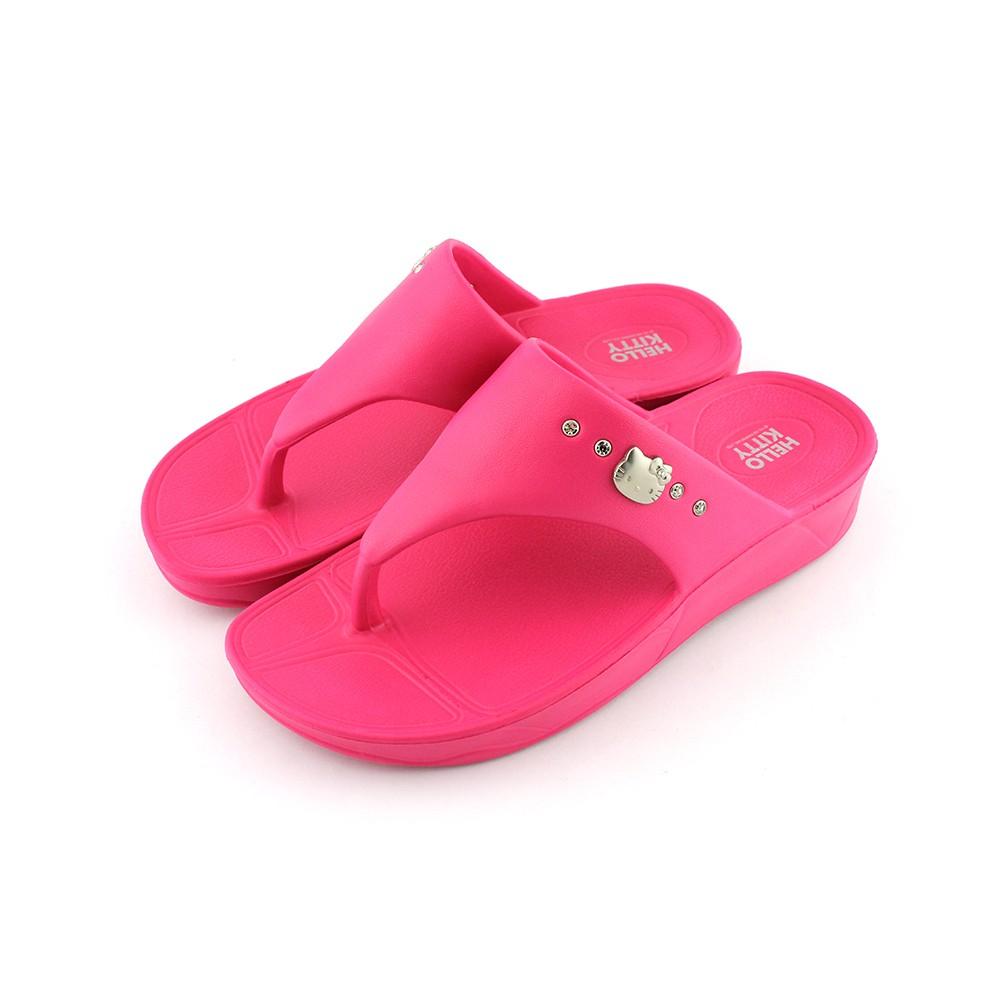 HELLO KITTY艾樂跑女鞋-輕量厚底夾腳拖鞋-深紫/桃紅/黑(914026)