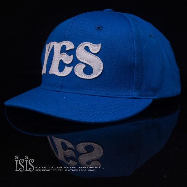 KURO-SHOP潮流新風格- 藍色 YES NO 短帽沿 棒球帽 板帽