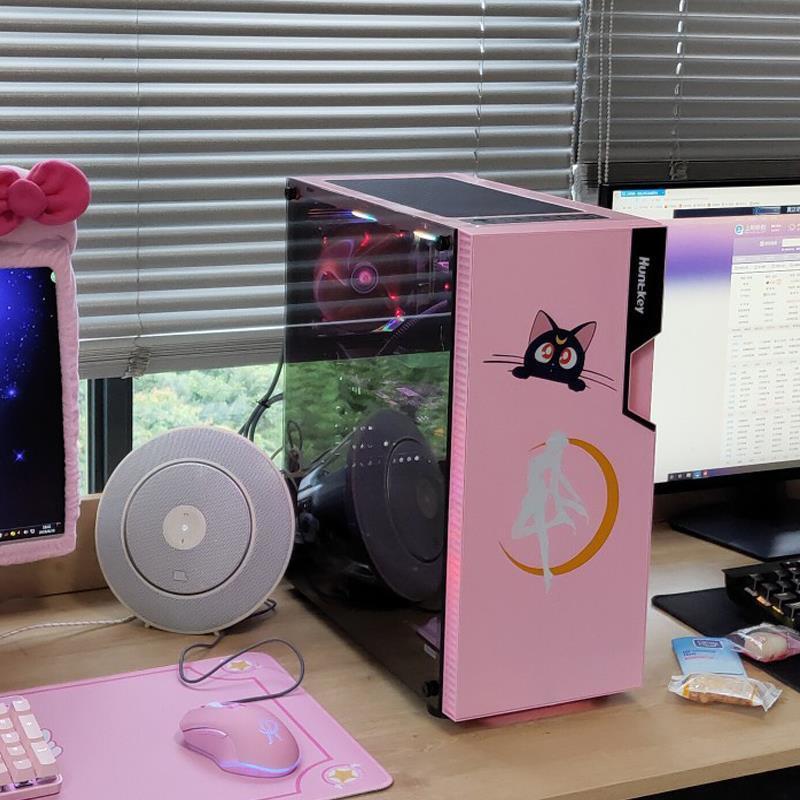 免運 電腦主機箱 電腦主機殼 主機空箱 主機空殼#DIY粉色機箱少女粉色臺式機電腦主機游戲側透水冷支持ATX主板機箱