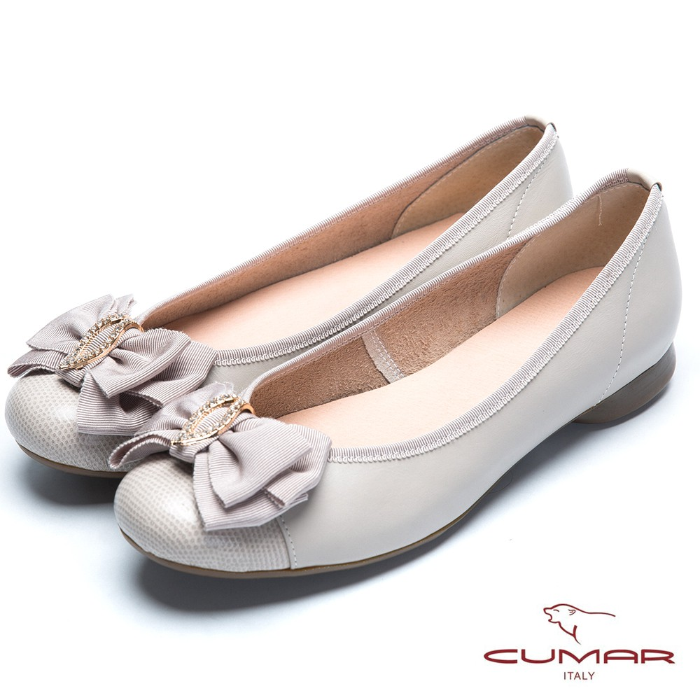 【CUMAR】舒適通勤 緞帶水鑽娃娃鞋-灰