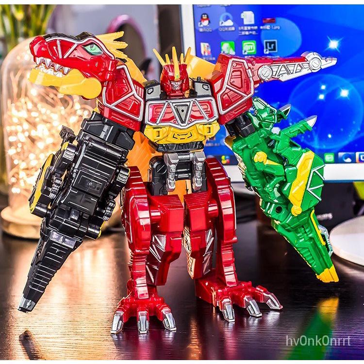 獸電戰隊獸電戰隊強龍者強龍神三合一聲光盒裝變形玩具池合體機器人。 vA8I