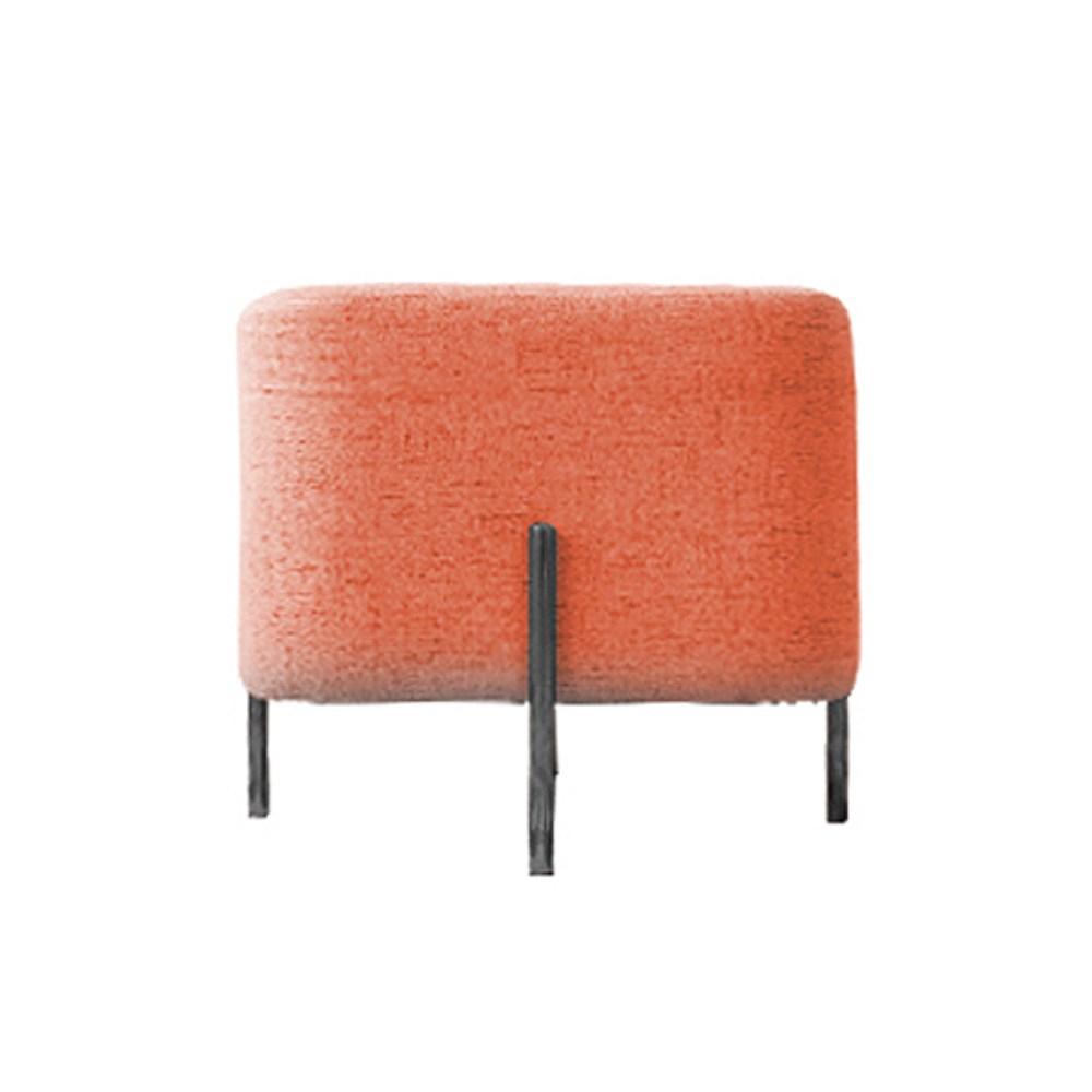 時尚棉麻方型椅凳 橘紅色