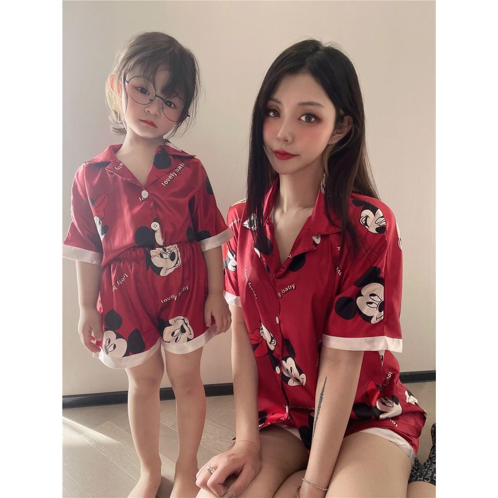 【baby clothes】 2021夏季新款 卡通滿印仿真絲冰絲童裝家居服短褲親子套裝