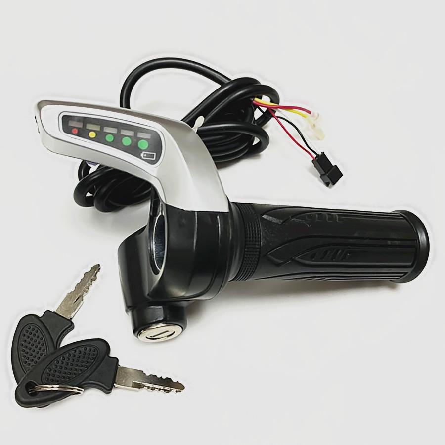 電動車調速轉把 鋰電車轉把36V48V帶鎖電量顯示轉把 0.4