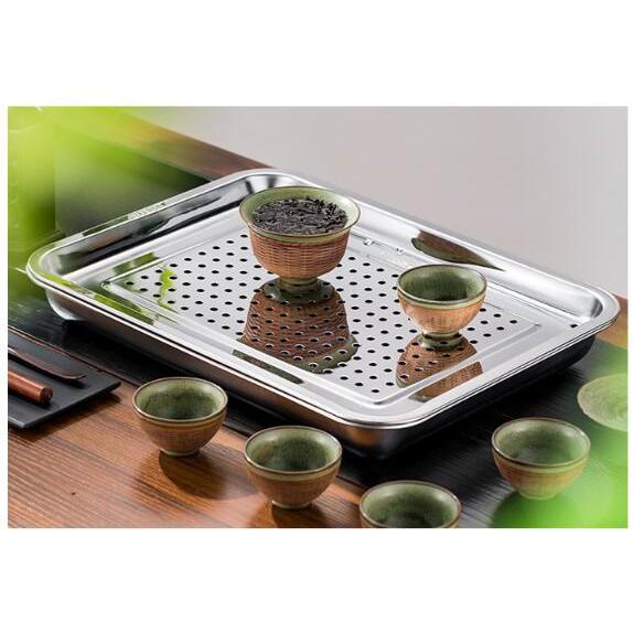 304不鏽鋼功夫茶小型儲水式長方形茶盤雙層茶臺茶海茶盤瀝水盤油炸盤漏盤 (一組上下盤各一個)