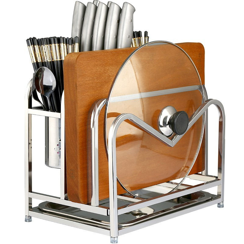 304不銹鋼刀架 瀝水刀架 多功能砧板架 雙砧板架 菜刀架 筷子菜板收納架鍋蓋架落地