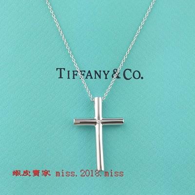 蒂芙尼項鏈tiffany十字架鑲鑽石純銀男款925情侶XXOO女款  蒂芬妮純銀項鏈