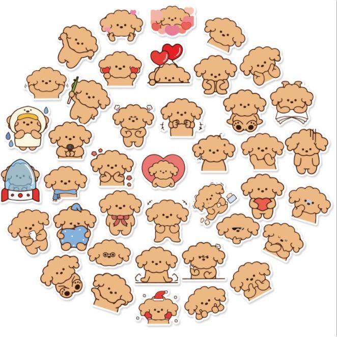 【點子樂】現貨⚡️ 40張 可愛貴賓狗 防水貼紙 貴賓犬 貼紙 動物貼紙 手帳貼紙 小狗貼紙 卡通貼紙 寵物貼紙