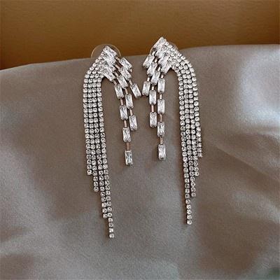 耳環 飾品 耳飾 82076 s925銀針韓國東大門滿鉆幾何耳環長款流蘇耳墜網紅氣質耳飾GB507 衣時尚