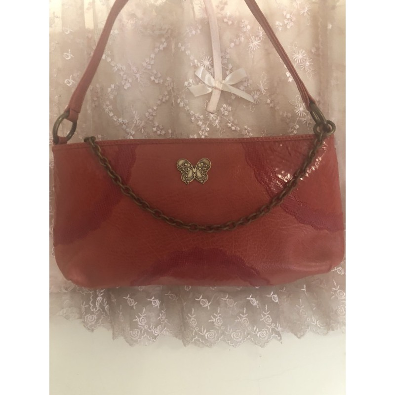 ANNA SUI紅色漆皮紅色晚宴手提肩背包
