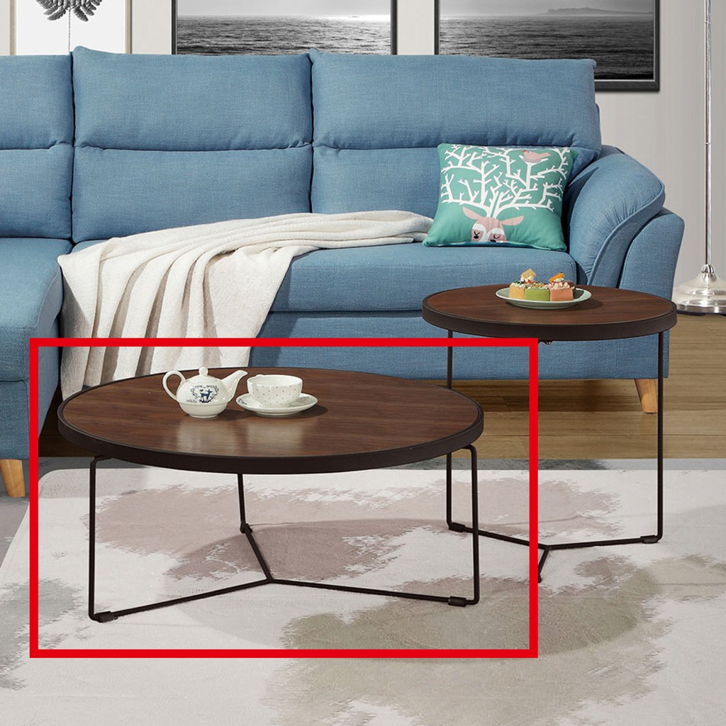 【80cm大茶几-A318-2】實木原木玻璃 大理石長方桌 大小邊几 圓桌 【金滿屋】