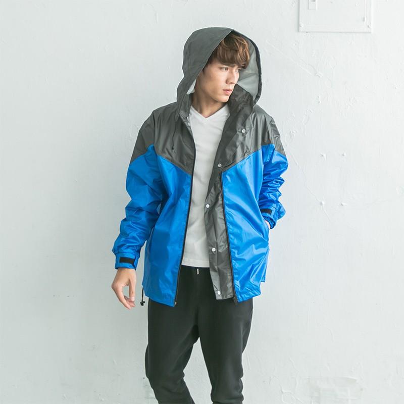 BrightDay御風者風雨衣外套-藍/灰