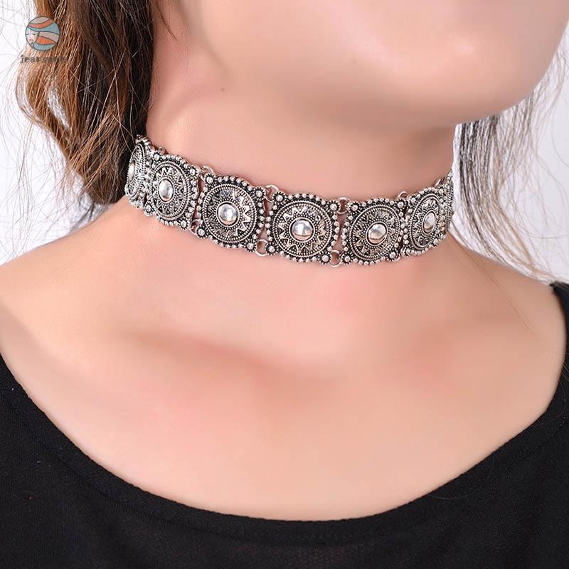 復古波西米亞風古董銀紋身聲明項鍊復古綠松石珠項圈項鍊女士脖子飾品