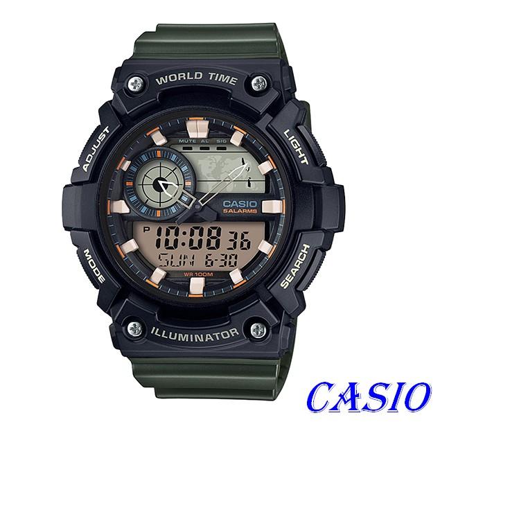 CASIO卡西歐指針與數字雙結合的設計,AEQ-200W錶盤上方顯示世界地圖AEQ-200W-3A AEQ-110W