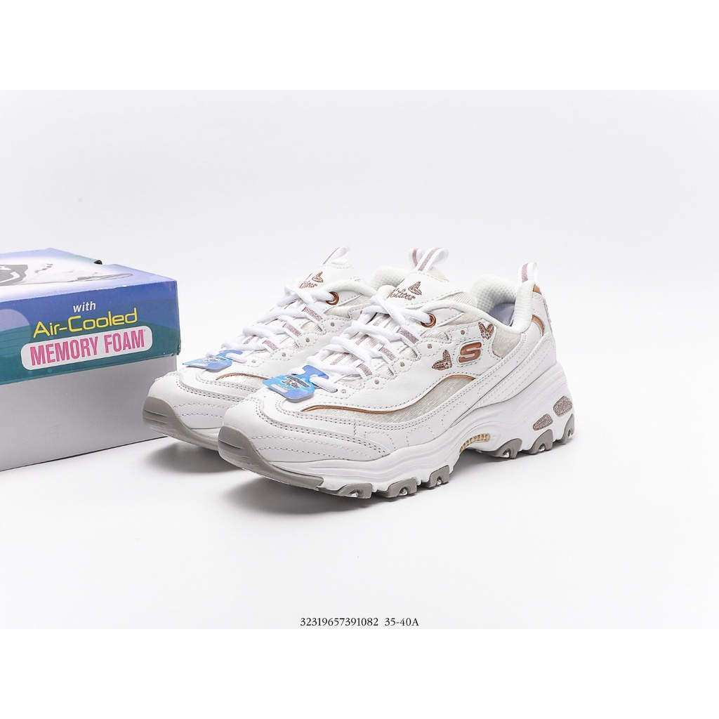 現貨【思克威爾】Skechers D'Lites Secono Chance 休閒運動鞋 蝴蝶刺繡老爹鞋女鞋 白色慢跑鞋