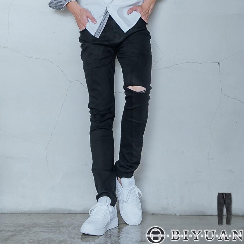 【OBIYUAN】牛仔褲 休閒褲 素面 刀割 破壞 合身 長褲 共1色【X901-1】