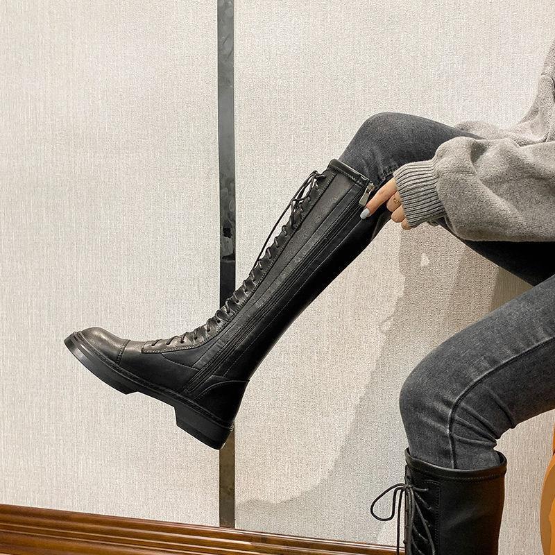 【現貨】【爆款】 達芺妮正品2020秋冬新款長筒靴女不過膝真皮加絨馬丁靴高筒騎士靴
