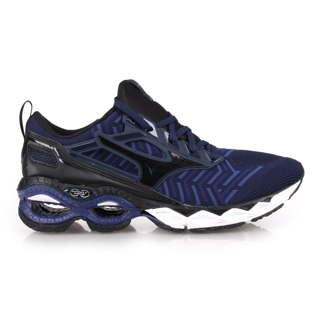 MIZUNO WAVE CREATION WAVEKNIT 男慢跑鞋( 路跑 丈青黑 J1GC193309