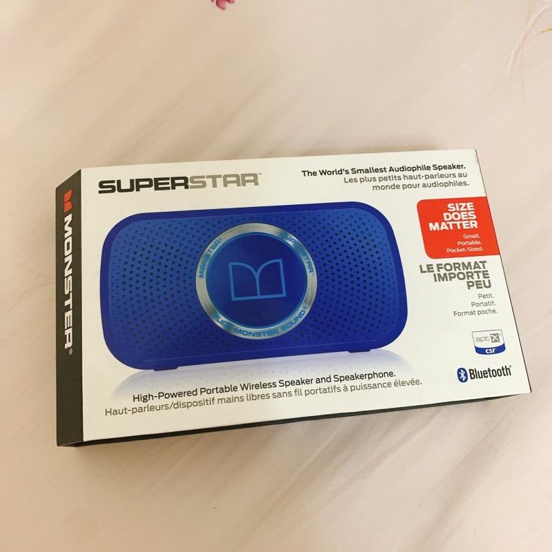 全新Monster Superstar 藍牙喇叭 螢光藍