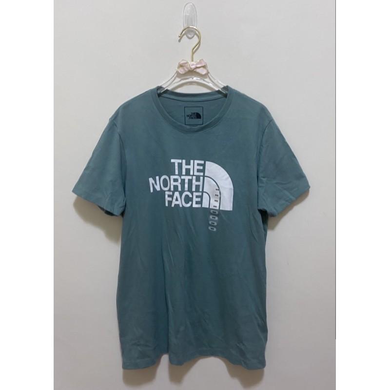 The North Face短袖T恤 純棉圓領大Logo 北臉 北面 TNF休閒運動短袖上衣女版-湖水綠色M 全新附吊牌